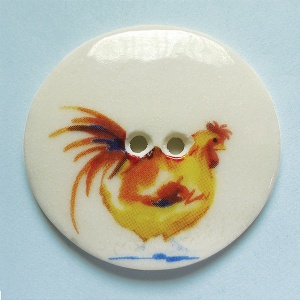 Chicken Yellow Large Circular Button