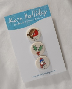 Assorted Christmas Buttons In Packs of Three or Single Buttons