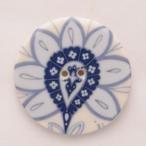 Blue Hedgerow Large Circular Button
