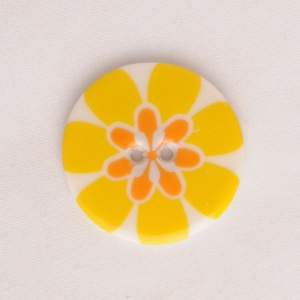 Flower Power Medium Circular Yellow Button
