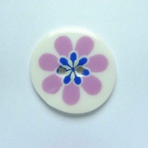 Flower Power Medium Circular Purple  Button