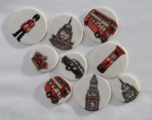 Assorted Large and Medium London Landmark Buttons