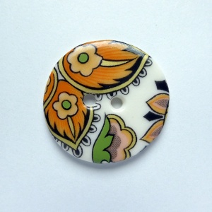 Orange Paisley Medium Circular Button