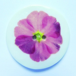 Pink Flower Large Circular Button