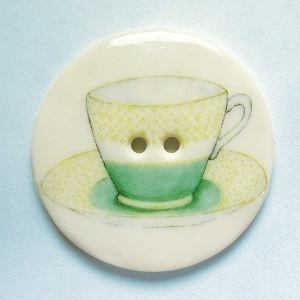 Teacup Green Large Circular Button