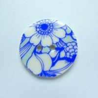 Aqua Flowers Medium Circular Button