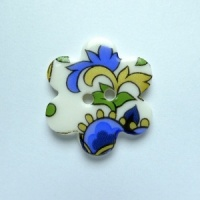 Blue Paisley Medium Flower Button
