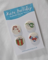 Assorted Bright Christmas Buttons - Four Packs and Single Buttons