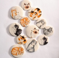 Assorted Cat Medium Circular Buttons