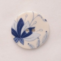 Blue Hedgerow Medium Circular Button