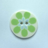 Flower Power Medium Circular Green Button