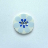 Flower Power Small Circular Blue Button