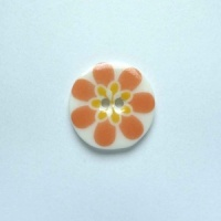 Flower Power Small Circular Coral Button