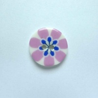 Flower Power Small Circular Purple Button