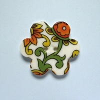 Orange Paisley Medium Flower Button