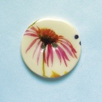 Summer Meadow Echinacea Medium Circular Button