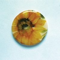 Summer Meadow Sunflower Medium Circular Button