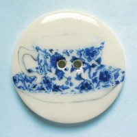 Teacup China Blue Large Circular Button