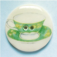 Teacup Green and Yellow Large Circular Button