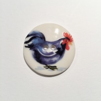 Blue Black Rooster Medium Circle Button