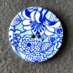 Aqua Flowers Large Circular Button