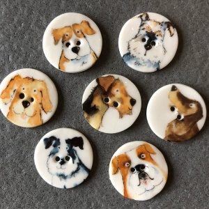 Assorted Dogs Smaller Medium Circular Buttons