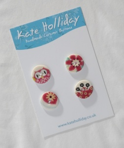 Packet of Four Patchwork Owl Buttons