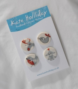 Assorted Red and Grey Christmas Buttons