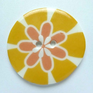 Flower Power Large Circular Orange Button