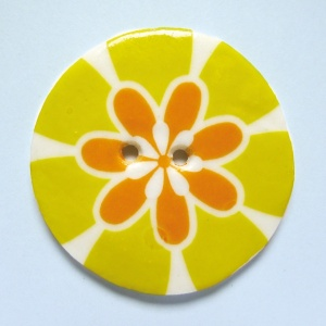 Flower Power Large Circular Yellow Button