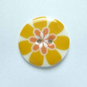 Flower Power Medium Circular Orange Button