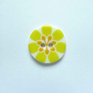 Flower Power Small Circular Yellow Button