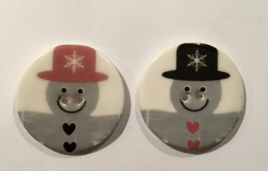 Red and grey snowman buttons