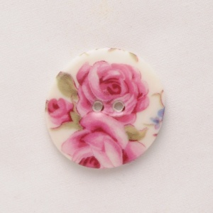Rose Chintz Medium Circular Button