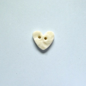 White Crochet Tiny Heart Button