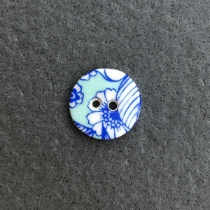 Aqua Flowers Small Circular Button