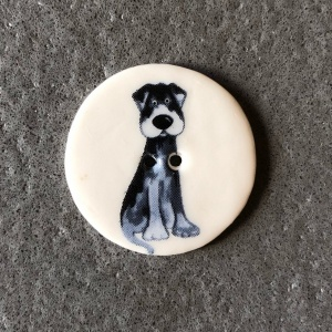Black Cartoon Dog Medium Circular