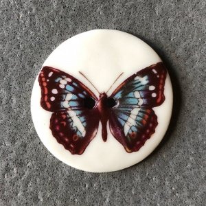 Blue Orange Butterfly Large Circular Button