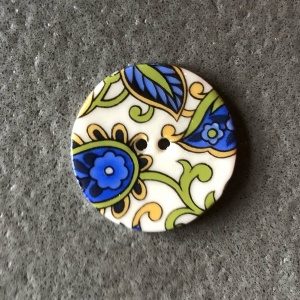 Blue Paisley Medium Circular Button