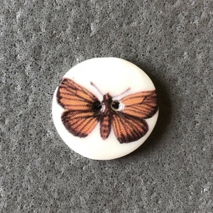 Brown Moth Smaller Medium Circular Button