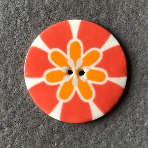 Flower Power Large Circular Coral Button