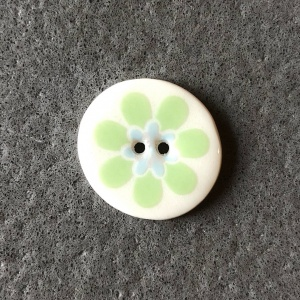 Flower Power Smaller Medium Green Circular Button