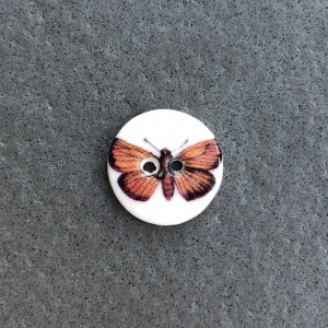 Brown Moth Small Circular Button