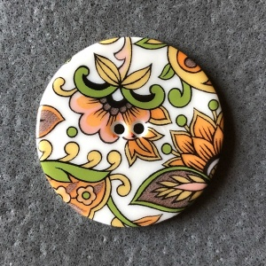 Orange Paisley Large Circular Button