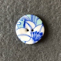 Aqua Flowers Smaller Medium Circular Button
