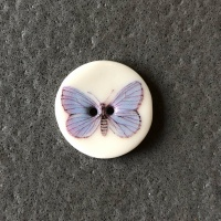Soft Blue Butterfly Smaller Medium Circular Button