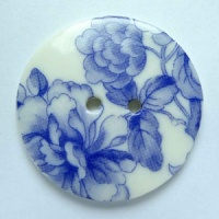 Chinese Blue Large Circular Button