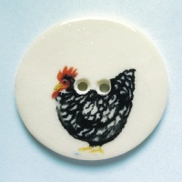 Chicken Black Large Circular Button