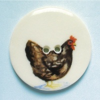 Chicken Brown Large Circular Button