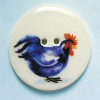Rooster Blue Black Large Circular Button